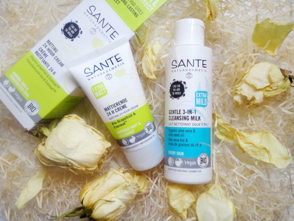 Матирующий крем и очищающее молочко Sante